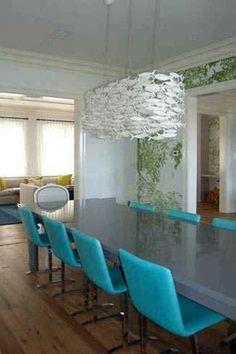 fishy chandelier above a sea of aqua