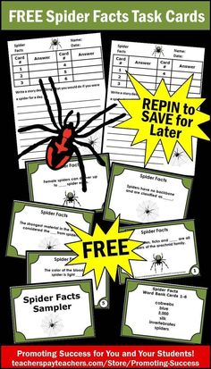 FREE Spider Activities: Spiders are a kid favorite topic! Here are six FREE printable spider facts task cards for your class. Your students will learn different spider facts vocabulary. These are intended as a supplement for your spider thematic unit activity. https://www.teacherspayteachers.com/Product/Spiders-1512239 #promotingsuccess