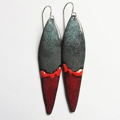 Gray and red abstract enamel earrings Long handmade hand painted dangles Contemporary southwest art jewelry Unique gift