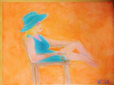 Sitting in the Sun Art Prints of Original Oil Pastels Drawing Picture by CJV Wall Art at Lady Hopefuls Shop
