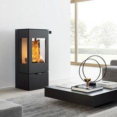 Rais Nexo 100 svart peisovn Corian, Steel Doors, Contemporary Interior, Perfect Match, Glass Door, Modern Architecture, Brown Leather, Minimalist, Home Appliances