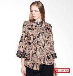 465 Model Baju Batik Wanita Kombinasi Kain Polos [2018] Rok Batik Modern, Blouse Batik Modern, Model Dress Batik, Batik Dress, Batik Muslim, Dress Batik Kombinasi, Outer Batik, Batik Blazer, Batik Fashion