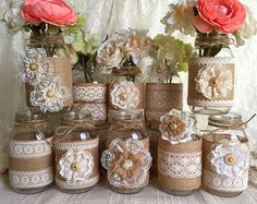 5 burlap and ivory lace covered mason jar vases with by PinKyJubb