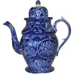 Antique Transferware -1820's Staffordshire Dark Blue Transferware Coffee Pot  For sale at www.rubylane.com @rubylaneinc #vintagebeginshere