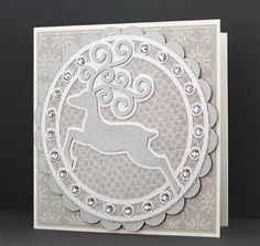 Reindeer Card cutting file (free) - available in lots of formats inc PDF for hand-cutting! Layer up as desired to make simple yet elegant cards!
