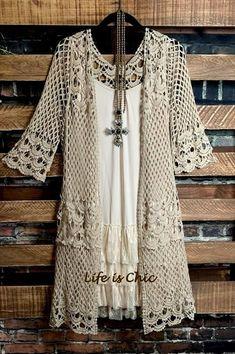 Your Shopping Cart – Life is Chic Boutique Lace Cardigan, Cardigan Outfits, Casual Outfits, Lace Tunic, Kimono Outfit, Boho Kimono, Kimono Top, Crochet Jacket, Crochet Cardigan