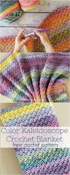 Color Kaleidoscope Crochet Blanket Pattern – So bright and beautiful! You can… Color Kaleidoscope Crochet Blanket Pattern – So bright and beautiful! You can't go wrong no matter what colors your choose for this Color Kaleidoscope Crochet Blanket Pattern! Crochet Crafts, Crochet Yarn, Crochet Stitches, Crochet Hooks, Crochet Projects, Free Crochet, Crochet Summer, Crochet Ideas, Crochet Mandala