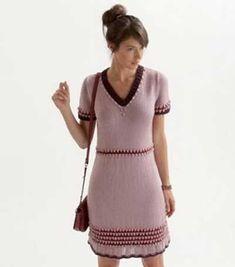 Free knitting pattern for a short sleeved v-neck dress