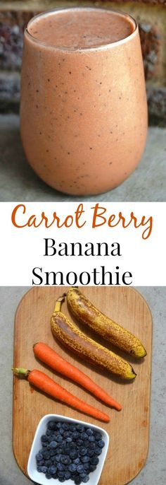 This Carrot Berry Banana Smoothie is filling, takes 2 minutes to make and gives you a boost of protein, fiber and a serving of vegetables!nutritionistr… by minutritionist Read Smoothie Proteine, Banana Berry Smoothie, Carrot Smoothie, Apple Smoothies, Healthy Smoothies, Healthy Drinks, Healthy Protein, Smoothies With Carrots, Smoothies With Vegetables