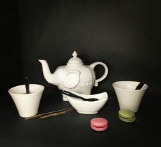 Tasses évasées théière éléphant #porcelaine #recette #thé #tea