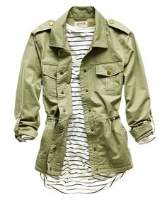 trends: military; arizona military jacket and love by design stripped top
