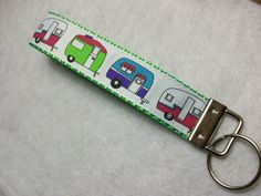 RV Camping Wrist Keychain with Cute Travel Trailers by SuburbanStitches, $5.75  #retro #camper #glamping