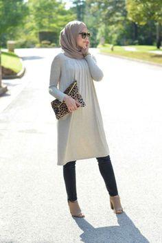 long tunic hijab look, Fall stylish hijab street looks…