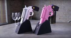 The Wine Gun comes in 2 styles – Simulated Steel and Firearm Pink! http://thegadgetflow.com/portfolio/wine-gun