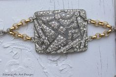 Vintage Rhinestone Buckle and Pearl One of a Kind by simplymeart, $80.00