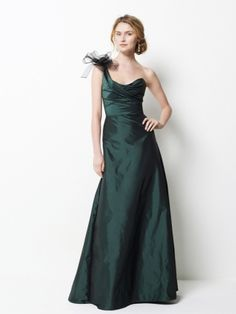 one shoulder neckline, criss-cross ruched end with floor length skirt