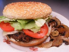 Mushroom Swiss Burger from Food.com:   This is a simple but great tasting burger. Recipe is for 1, but double or quadruple ingredients for more.