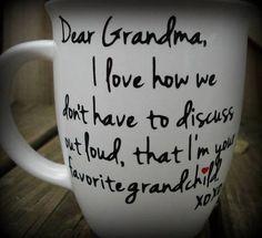 Dear Grandma Favorite Grandchild Custom Made Coffee Mug, Grandma Gift, Grandpa Gift, Personalized Coffee or Tea Mug