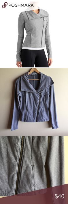 "Athleta City Limits grey moto jacket Great little jacket from Athleta in a heather grey sweatshirt type of fabric. Asymmetrical front zip and two side pockets. Gently worn in great condition! Measures 18.5"" from underarm to underarm and 22"" long. Athleta Jackets & Coats"