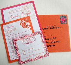 "Customer Danielle B. used our Azalea and Flame Metallic Paper as decorative backing for her wedding invitation & direction cards which she designed and printed herself. ""I was looking for some paper that was special looking and not just a plain matte, and the metallic paper was perfect"" she says. (envelopes used were A7 Flame Metallic)"