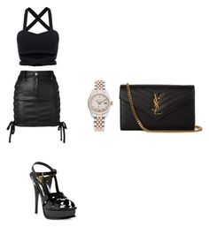 """#blackparty🔝💣"" by aandreead on Polyvore featuring Versus, Yves Saint Laurent and Rolex"