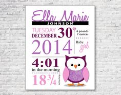 Soo cute - Plum Owl Meadow nursery print! Great keepsake and baby gift.