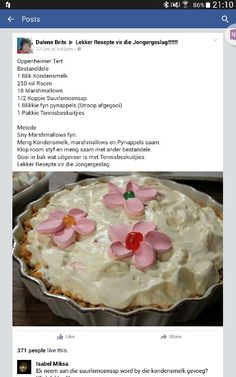 Oppenheimer tert Milk Recipes, Tart Recipes, Sweet Recipes, Baking Recipes, Dessert Recipes, South African Desserts, South African Recipes, Kos, Fridge Cake