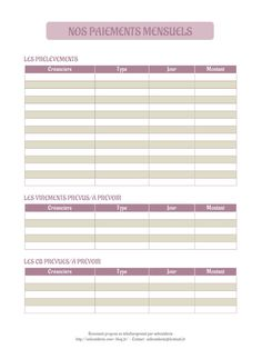 Aperçu du document Nos prélèvements mensuels.pdf - page Organization Bullet Journal, Budget Organization, Planner Pages, Weekly Planner, Cleaning Checklist, Bath And Body Works, Self Help, Bujo, How To Plan