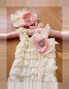 Ivory Vintage Lace Romper,Petti Romper,lace Romper Set,Baby Headband,Baby Romper,Vintage Headband,Newborn Photo Prop,Birthday Outfit,Toddler on Etsy, $44.95