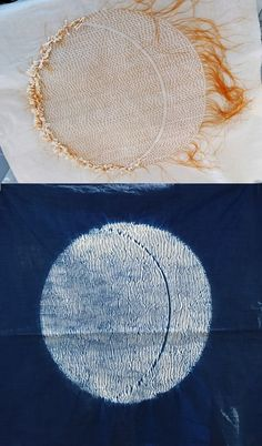 """A lovely piece created on a Townhill Studio workshop by a talented participant. From a Jane Callender design shown in her book """"Stitched Shibori"""", a must for all budding shibori artists."""