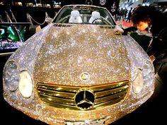 Luxury Cars - haha wow - Prince Al-Waleed of Saudi Arabia commissioned a Mercedes covered in diamond Swarovski crystals for 48 million dollars. Maserati, Bugatti, Sexy Cars, Hot Cars, My Dream Car, Dream Cars, Bling Bling, Bling Car, Mercedes Benz