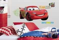 *DISNEY CARS 2- TEAM LIGHTNING McQUEEN GIANT REMOVABLE WALL STICKER*