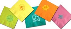 Design Your Own Monogram Napkins - love these bright colors! at Paperfancy.com