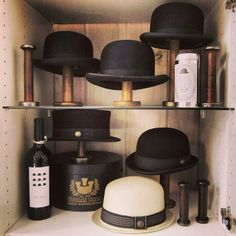 A classic hat collection display by Michael Ward. Shop our American made Bowlers & Top Hats today.