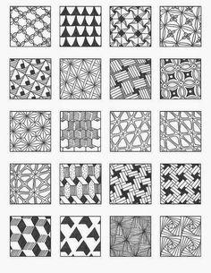 Zentangle, rustgevend tekenen: Zentangle voorbeelden, patronen 5