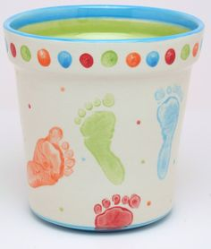 Cute Footprint & Fingerprint Dots. Great gift for grandparents! Or for yourself to keep the memories close by.