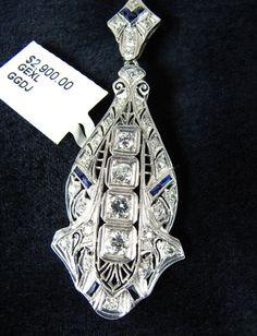 Edwardian Art Deco Platinum Diamond by ElegantFineJewelry on Etsy
