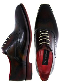 PAUL PARKMAN ® Men's Oxford Shoes Burgundy & Camel Hand-Burnished Leather Upper With Leather Sole