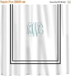 12 Days Christmas SALE Custom Shower Curtain -Simplicity in White or Bottom Band Solid with monogram in your colors - can do any color frame