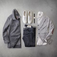 I wish all my sweaters made my elbows look this sophisticated.  Cardigan: @jachsny light grey merino  Coat: @jachsny brushed twill   Watch: @uniformwares C40  Shirt: @grayers oxford  Denim: @rogueterritory slub sk  Shoes: @rancourtco court classic  Glasses: @davidkind  #jachsny #collab #flatlay by thepacman82