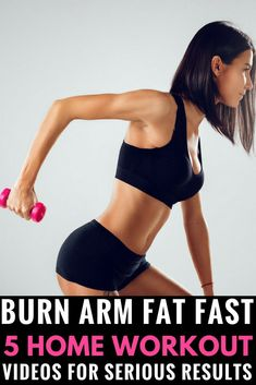 TONE ARMS & BURN FAT FAST with the best arm workouts for women! Do these arm exercises at home or at the gym to see results fast. It's amazing what a few triceps can do for bat wings! Build muscle and slim down your upper arms and back just in time for su Arm Workouts At Home, Home Workout Videos, Exercise Workouts, Exercise At Home, Planks Exercise, Men Workouts, Excercise, Slim Arms Workout, Fat Workout