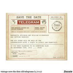 vintage save the date old telegrams