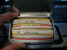 Ultra-Lightweight Backpacking Spice Kit!   An m tube could work, but this altoid case is ingenius! YAY!