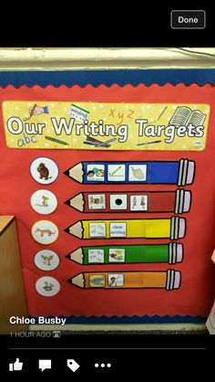 Lovely Writing Target display using Twinkl resources. Great idea for the new school year! Phonics Display, Literacy Display, Teaching Displays, Class Displays, School Displays, Classroom Displays, Display Boards For School, Year 2 Classroom, Ks1 Classroom