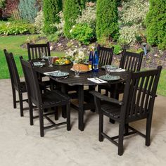 Outdoor Little Cottage Classic Recycled Plastic 7 Piece Oval Patio Dining Set