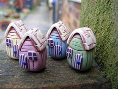 Beach Hut Polymer Clay Beads - so cute! Ethan says they look like fairy houses.