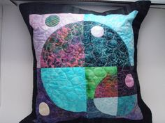 Quilted Pillow Cover Sham 14-inch  Planets & by MooseCarolQuilts