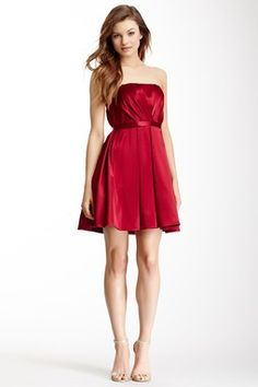 A.B.S. Strapless Overlap Pleated Bustier Dress