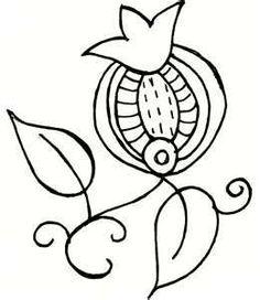 Elizabethan embroidery - 'slip' design - pomegranate