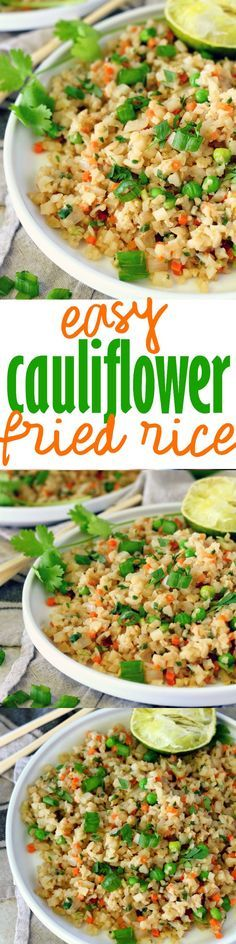 This Easy Cauliflower Fried Rice recipe is super delish, full of veggie goodness and packed with protein. It comes together in less than 20 minutes and is completely customizable. Go vegetarian or add chicken, fish, shrimp, you name it!